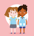 back to school student boy and girl uniform vector image vector image