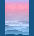 background with mountains in the fog sunset time vector image vector image