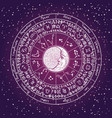 banner with a circle zodiac signs and moon vector image
