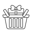 basket shop with gift box ribbon outline vector image vector image