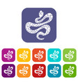 black dotted snake icons set flat vector image vector image