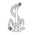 black white rope outline sea icon anchor vector image