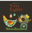 Bunnieschicken and easter eggs vector image