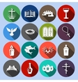 Christianity Icons Set Flat vector image