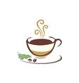 coffee cup organic eco logo vector image vector image