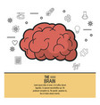 colorful poster the brain with monochrome icons in vector image vector image