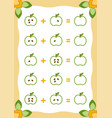 counting game for children addition worksheets vector image vector image