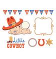 cowboy birthday party set cowboy bain western vector image vector image