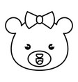 cute and tender female bear kawaii style vector image vector image