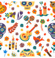 day dead mexican holiday symbols seamless vector image
