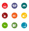 delivery of box icons set flat style vector image vector image