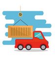 delivery service truck with container vector image