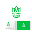 flower shop logo business card tulip shield vector image