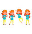 girl poses set high school child for vector image vector image