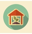 Greenhouse retro flat icon with long shadow vector image vector image