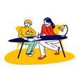 homeschooling concept young woman and schoolboy vector image vector image