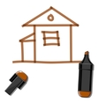 House and brown marker vector image vector image