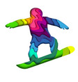 layered paper cut colorful snowboarder silhouette vector image vector image