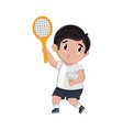 little boy in tennis uniform holding racket vector image