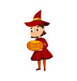 little witch holding pumpkin cute girl wearing vector image