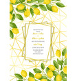 luxury wedding invitation card with lemon brunches vector image