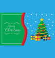 merry christmas card with tree and presents vector image vector image