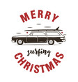 merry surfing christmas badge design with surf car vector image vector image