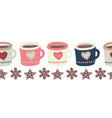 mugs with hot chocolate or tea and cookies vector image