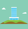 office building flat isolated on top of hill vector image vector image
