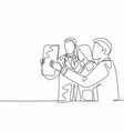 one single line drawing group team doctor vector image vector image