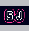 pink white blue alphabet combination letter sj s vector image vector image