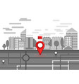 red bright map pin on city street vector image