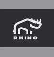 rhino linear logo in a minimalist style vector image vector image