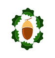 ripe acorn icon autumn oak nut and leaves logo vector image vector image