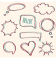 set hand-drawn speech bubbles vector image