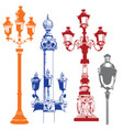 set of colorful street lanterns-8 vector image