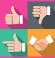 set of hands with fingers on different backgrounds vector image vector image