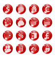 Set of icons of red color on a subject bank vector image vector image