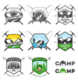 Set of vintage camping labels and badges vector | Price: 1 Credit (USD $1)