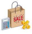 shopping bag with calculator and percent symbol vector image