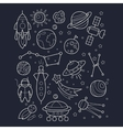 Space And Cosmic Objects Black White Wallpaper vector image