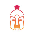 spartan greek helmet outline on white vector image