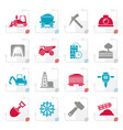 stylized mining and quarrying industry icons vector image