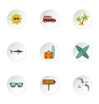 Swimming on surf icons set flat style vector image vector image
