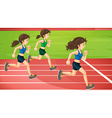 Three women running in the track vector image vector image