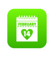 valentines day calendar icon digital green vector image vector image