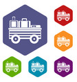 service cart with luggage icons set vector image