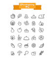 Thanksgiving Day outline icons set Harvest vector image