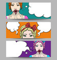 woman with speech bubble banner set vector image