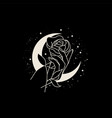 beautiful woman hand with flower on moon vector image vector image